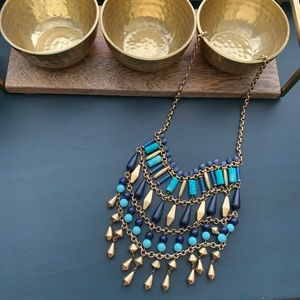 Stella & Dot Malta Bib necklace blue turquoise
